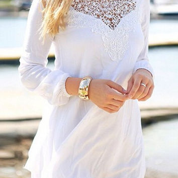 Round Collar Long Sleeve See-Through Solid Color Dress