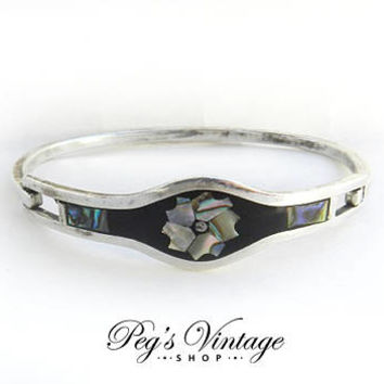 Vintage Sterling Silver Hinged Bracelet /Taxco Mexico/Abalone Shell Inlay, Black, Shell Flower Clamper Bracelet