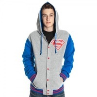 Superman Letterman Gray Adult Varsity Hoodie Jacket Sweatshirt