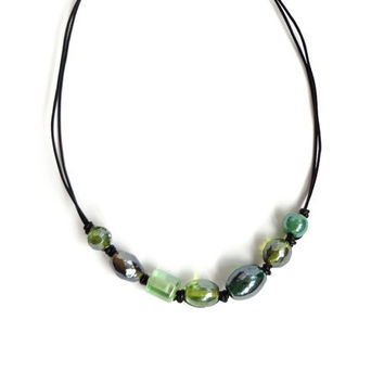 Green glass leather necklace knotted bib black cords chunky rocker boho ooak