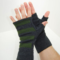 Men's Fingerless Mitts in Green and Grey Striped Merino - Recycled Felted Wool
