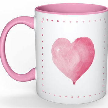 Pink Watercolor Ombre Heart Mug