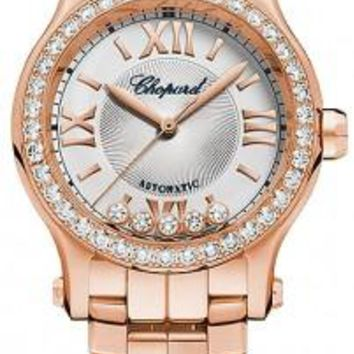 Chopard - Happy Sport Automatic - Round Mini 30mm - Rose gold and Diamonds