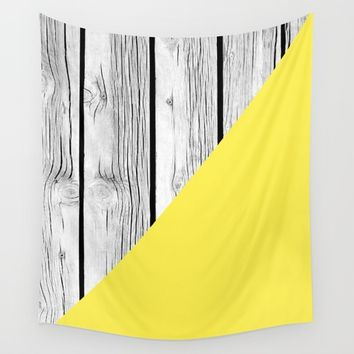 Yellow vs Wood Wall Tapestry by ARTbyJWP