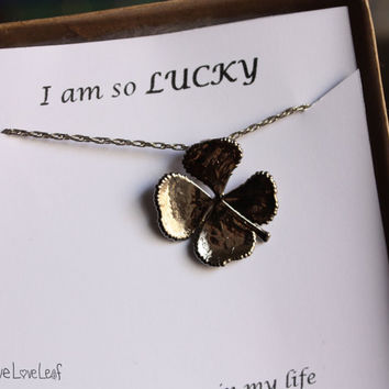 Platinum Real Four Leaf clover Necklace, Lucky Real 4 Leaf clover pendant, Unique Gift Idea, Nature Jewelry, Birthday, Shamrock