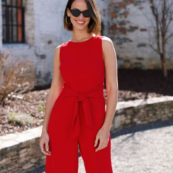 Paint The Town Wide Leg Jumpsuit, Red