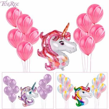 FENGRISE Unicorn Balloons Birthday Party Pink Rainbow Unicorn Agate  Balloon Kids Party Favors Gifts Baby Shows Backdrop Decor