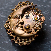 Moon Brooch, Man in the Moon, Vintage French Brass, Steampunk Jewelry, Filigree Brooch, Fire Opal