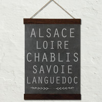FRENCH WINE REGION NO.2 TYPOGRAPHY ART CANVAS WALL HANGING