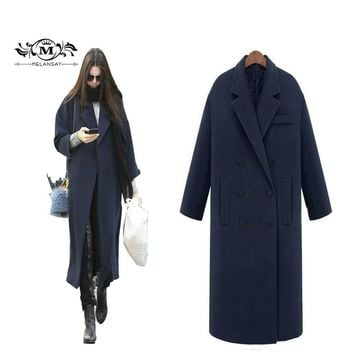 Fall Winter 2017 Women's Classic Oversize Wool Coat Femme Cashmere Maxi Long Jacket Outwear Black Manteau Slim Trench Peacoat