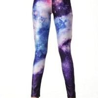 Blooms - Galaxy Colorful Calico Painting Footless Pantyhose Leggings Quality Assurance One Size Multi-Color Chose (DK15)