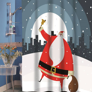 Santa in the City Holiday Fabric Shower Curtain