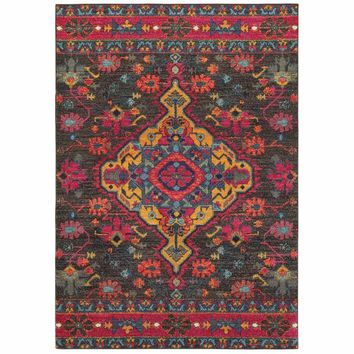 Bohemian Charcoal Pink Oriental Medallion Traditional Rug