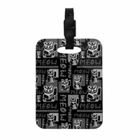 "Jane Smith ""Meow Repeat"" Black White Decorative Luggage Tag"