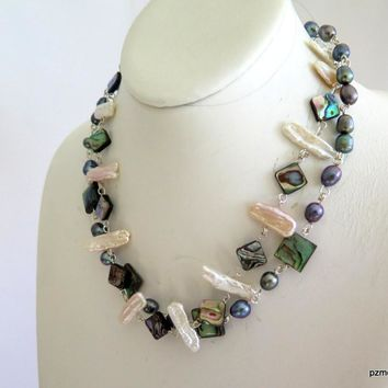 Abalone and Black Pearl Necklace, Modern Pearl Statement Necklace, Gift for Her