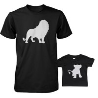 Funny Lion and Cub Matching Dad Shirt and Baby Shirt