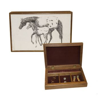 1960s Men's Wooden Jewelry Box, Enameled Horse Lid