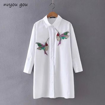nvyou gou Women Bird Embroidered White Long sleeve Blouse Shirts Turn Down Collar Spring Fall New Fashion Office Female Top