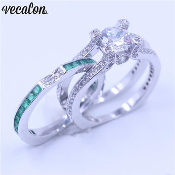 Vecalon Female Luxury Jewelry Engagement ring Green AAAAA Zircon cz 925 Sterling Silver wedding Band ring Set for women