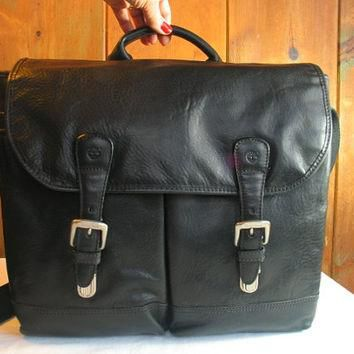 Vintage Black Leather Briefcase Timberland Vacchetta Italian Leather Men's Satchel Hea