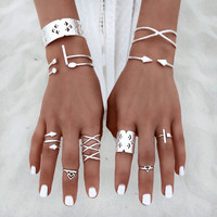 Vintage Silver Knuckle Boho Tribal Ethnic Hippie Rings Set Fashion Women Girl