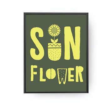 Sunflower Typography, Nursery Art, Kids Print, Flower Poster, Children Decor, Educational Art, Playroom Art, Nursery Decor, Botanical Print