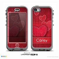 The Pocket with Red Scratched Hearts Name Script Skin for the iPhone 5c nüüd LifeProof Case