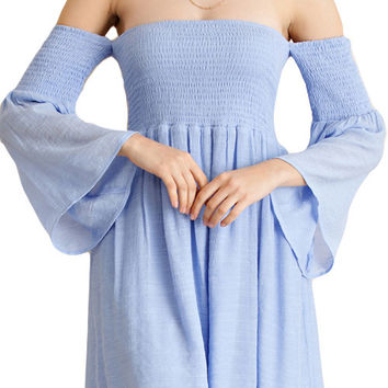 SOLID BELL SLEEVED DRESS