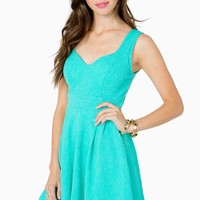 Embossed Paisley Flare Dress
