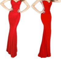 Grace Karin® Women's Red Deep V Neck Sequins Long Prom Evening Dresses