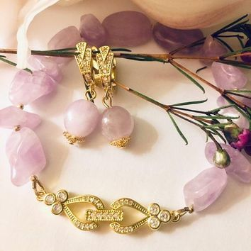 Bridal wedding set amethyst and yellow gold plated earrings and bracelet made with clear cubic zirconia crystals