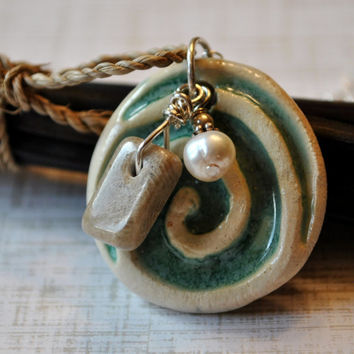 Teal Handcrafted ceramic pendant, Petoskey stone Michigan charm and freshwater pearl,  Michigan necklace, Up North