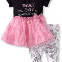 Vitamins Baby-Girls Newborn Peace Love and Dancing Dress Set