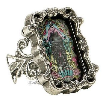 Licensed cool Disney The Little Mermaid URSULA CAMEO Stained Glass Filigree  Ring ADJUSTABLE