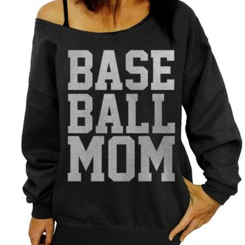 Baseball Mom, Mother's Day Gift, Women's Sweater, Gift for Mom, Sports Mom, Off the Shoulder, Oversized, Slouchy Sweatshirt, Baseball Team