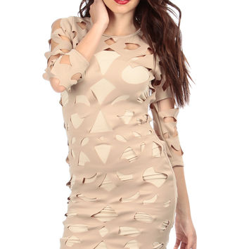 Geometric Cut Out Body Con Dress
