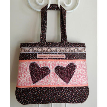 Heart Art Tote Bag in Pink Brown Happiness Is An Inside Job