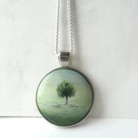 Unique Tree Pendant Necklace, Landscape Tree Charm, Small Painting Necklace, Realism Painting Tree Jewelry, Designed Hand Painted by Artdora