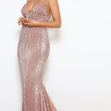 Stealing Hearts Pink Sequin Sleeveless Spaghetti Strap Plunge V Neck Backless Mermaid Maxi Dress