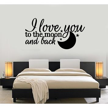 Vinyl Wall Decal Quote I Love You Moon Stars Romance Bedroom Decor Stickers Mural (g1075)