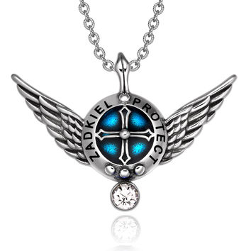 Archangel Zadkiel Angel Wings Protection Shield Magic Powers Charm White Crystal Pendant 22 inch Necklace