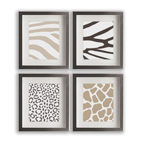 Set of Four Animal Print Art Prints - home decor, wall decor, wall art, modern animal prints, cheetah, zebra, giraffe, tiger, gift idea