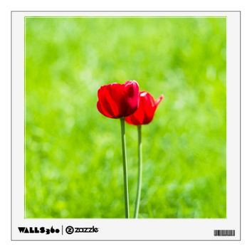 Two red tulip flowers wall decal