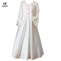 ROLECOS Vintage Romantic Classic Princess Long Sleeve Cotton Sleepwear Women Nightgowns with Bowknot Design Clothing