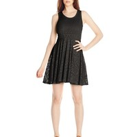Derek Heart Juniors Sleeveless Scoop-Neck Pointelle Lace Skater Dress