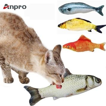 Anpro 1PC Vivid Artificial Fish Shape Simulation Plush Pet Cat Chew Toy Cat Mint Catnip Fish Toys Interaction Training Toys