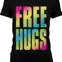 Oversized Rainbow Free Hugs Juniors T-shirt, Big and Bold Neon Free Hugs Juniors Tee Shirt, Large, Black