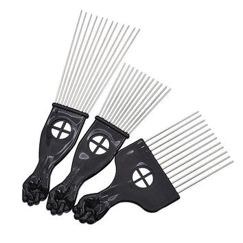 3 Size Black Fist Afro African Hair Pick Comb Styling Tool