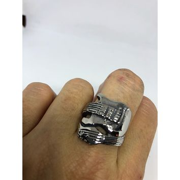 Vintage 1980's Gothic Stainless Steel Guitar Men's Ring