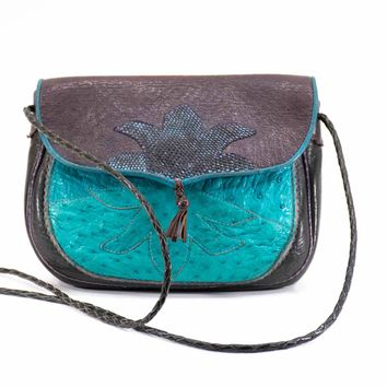 RUBY FIRECAT Saddle Bag Handmade Collectable SMITHSONIAN Ostrich Snakeskin Exotic Leather Patchwork Purse Crossbody Bag
